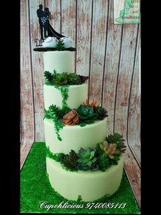 Succulent n moss 4 tier wedding cake !!!