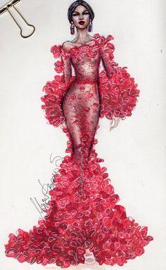 Sketch of dress of fashion designer 18