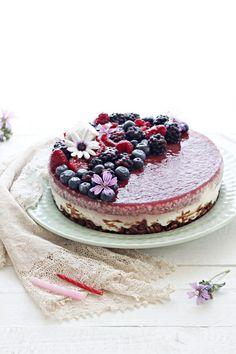 Torta fredda senza cottura ai frutti di bosco e cocco Oreo Cheesecake, Cheesecake Recipes, Ricotta, Hungarian Desserts, Cooking Cake, Sweet Tarts, Pinterest Recipes, No Bake Cake, Cake Cookies