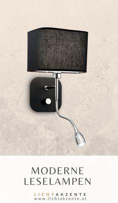 """Moderne Bett Wandleuchte mit LED Leselampe """"Holiday"""" online entdecken bei Lichtakzente. Die Bett Leseleuchte mit schwarzen Lampenschirm verbindet moderne LED Technik und zielgerichtetetes Leselicht. Ob Schlafzimmer oder Wohnzimmer, diese Nachttischlampe passt in beiden Räumen. Auch im Wohnzimmer passt dieses Leselicht über der Couch. #bett #leselampe wand #nachttischlampe wand #kopfteil #beleuchtung #lampe #lampen und leuchten #lichtakzente Wall Lights, Couch, Interior Design, Lighting, Home Decor, Modern Light Fixtures, Bedroom Lamps, Nest Design, Appliques"""