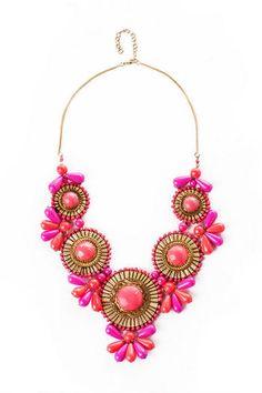 Extravagant Blooms Statement Necklace in Fuchsia