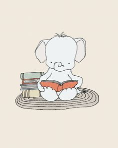 Elephant Bookworm Nursery Art : You can CUSTOMIZE this print to any colors you choose, either from the color chart or a picture or link, just