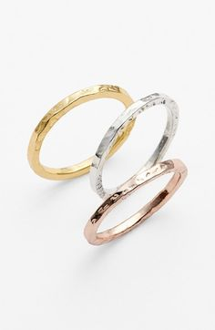 Women's Argento Vivo Hammered Rings - Tri Tone~ Nordstrom