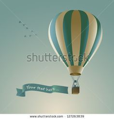 Hot air balloon with message on banner, vector illustration by Cyborgwitch, via ShutterStock