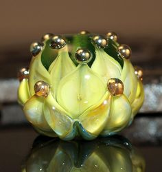 yellow water lily bead  handmade glass bead SRA von CorneliaLentze, $24,00