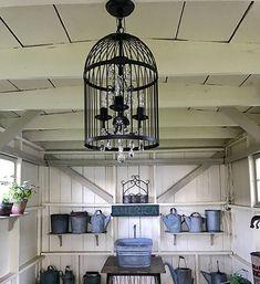 Potting shed ideas! She Sheds, Chandelier, Ceiling Lights, Gardens, Country, Home Decor, Ideas, Candelabra, Decoration Home