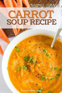 This deliciously creamy carrot soup recipe simmers together vegetables and spices to make the perfect combination. Easy and delicious!#carrots #soup #fallsoup #curry Creamy Carrot Soup Recipe, Curried Carrot Soup, Freezing Carrots, Grilled Ham And Cheese, Hot Soup, Soup Recipes, Curry, Saltine Crackers