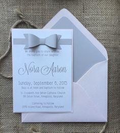 Modern Baby Baptisim Invitation Simple and Elegant by aLukeDesigns