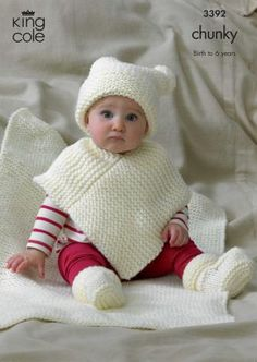Baby Knitting Patterns Chunky Knitting Pattern Baby Very Easy Knit Hat Poncho Bootees Blanket Chunky Kc 3392 Chunky Knitting Patterns, Baby Hats Knitting, Knitting For Kids, Knit Patterns, Sweater Patterns, Knitted Poncho, Knitted Hats, Children's Poncho, Hooded Poncho