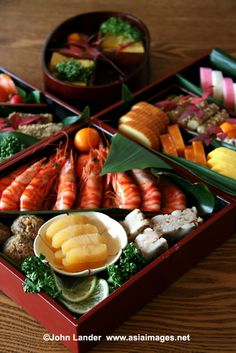 Osechi Ryori, Japanese New Year Feast|Japanese New Years food is called osechi-ryori, and consists of many different kinds of dishes.  Traditionally, people finish cooking osechi dishes by New Year's Eve so they have food for a couple days without cooking.