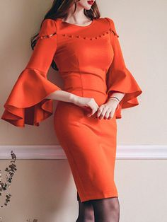 ideas dress outfits bodycon for 2019 Bodycon Outfits, Dress Outfits, Fashion Dresses, Bodycon Dress, Plain Dress, Maxi Dress With Sleeves, Short Sleeve Dresses, Sleeves Designs For Dresses, Dress Neck Designs