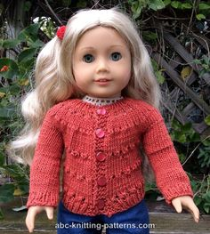 American Girl Doll Country Style Autumn Cardigan - http://www.abc-knitting-patterns.com/1444.html