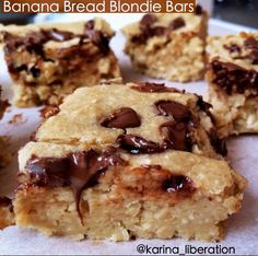 these banana bread blondie bars are only 2 Weight Watchers points each!