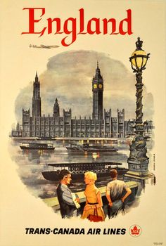 Di Maulo Floreani - Original vintage travel poster advertising England by Trans-Canada Airlines at 1stdibs
