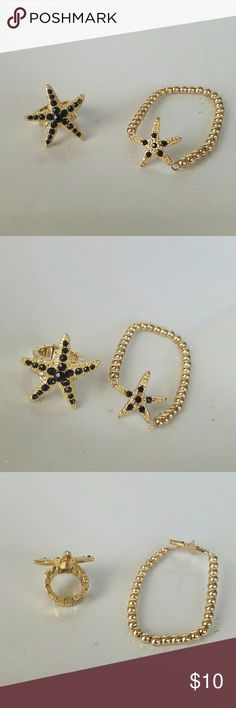 Starfish Bracelet and Ring Set Gold and black crystal stretchy ring and bracelet. Dainty and cute to wear with anything. Both can fit up to multiple sizes. The ring can fit anywhere to a 5-6. Bracelet just depends on wrist size. If you have any questions just let me know and I'll be more than happy to help you out. :)   Lead an nickel free. Excellent quality. Very unique. Lightweight and adjustable. Is brand new but doesn't come with tags. Jewelry Bracelets