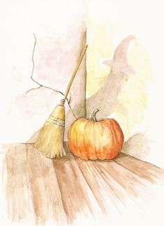 Items similar to Pumpkin Ready, print from watercolor, x for Halloween or Fall on Etsy Halloween Cards, Vintage Halloween, Happy Halloween, Pumpkin Art, Halloween Illustration, Season Of The Witch, Autumn Art, Watercolor Paintings, Manualidades