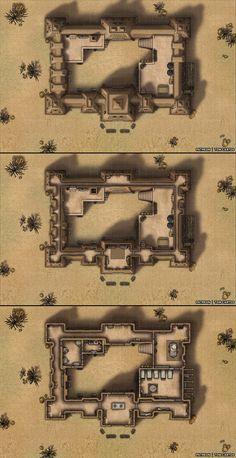 Djinguré - A Three Level Mud Fort in the Desert : battlemaps Fantasy Places, Fantasy Map, Medieval Fantasy, Desert Map, Pathfinder Maps, Village Map, Building Map, Rpg Map, Dungeon Maps