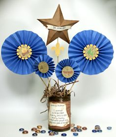 Blue & Gold Banquet Table Centerpiece