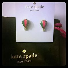 Kate Spade Up Up and Away Hot Air Balloon Earrings Brand new, new style! Comes with dust bag and gift box. Colors are pink , green, purple in gold background kate spade Jewelry Earrings