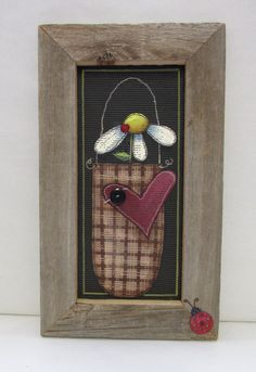 Single Primitive Daisy Framed in Barn Wood by barbsheartstrokes,
