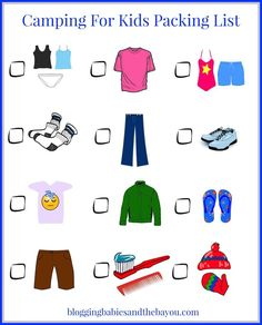 Camping For Kids Packing List Printable