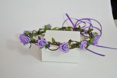 Flower crown, purple flower crown, violet flower crown, violet crown,coachella crown, bridal crown, flower crown for bride, wedding band by SpringFlowerBoutique on Etsy