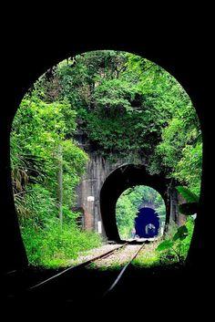 Triple Railroad Tunnel, Xiapu, China.