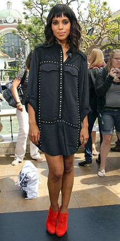 At The Grove in L.A. for an appearance on Extra, Kerry keeps it cool in an embellished black shirtdress and bright-red booties.
