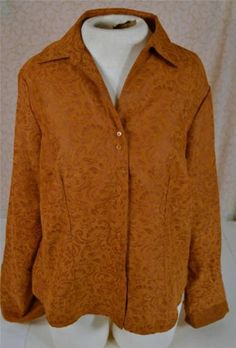 Ladies Size Large Ms. Lee Suede Like 10% Polyester Long Sleeve Blouse