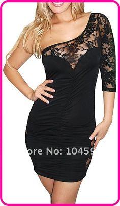 Sexy clubwear Lace Vintage One shoulder Vivid Illustrations Club Dress,  kevin.pan@yztradehk.com