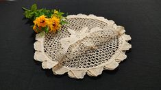 Handmade Needle Lace Placemats Doilies, Set of 4, 4x35cm/4x13.8in Crochet Doilies, Crochet Lace, Needle Lace, Plates And Bowls, Table Toppers, Scalloped Edge, Cotton Thread, Decorative Plates, Delicate