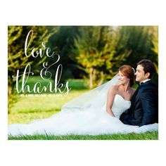 WHIMSICAL CALLIGRAPHY WEDDING THANK YOU POSTCARD - tap, personalize, buy right now! #wedding #thank #you #calligraphy #script Wedding Thank You Postcards, Wedding Postcard, Save The Date Postcards, Photo Postcards, Photo Thank You Cards, Thank You Photos, Before Wedding, Pretty Photos, Wedding Preparation
