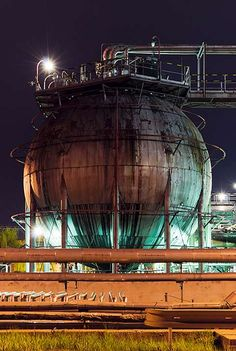 Luminous Nighttime Photos of European Oil Refineries by Branislav Kropilak