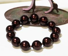 Brown Large Beaded Elastic Stretchy Glass Pearl by BijiBijoux, https://www.etsy.com/listing/64232442/brown-large-beaded-elastic-stretchy