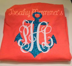 I love it...just the way it is :) or grey with pink lettering Preppy Large Anchor Monogram TShirt by BeachyMommas on Etsy, $22.00