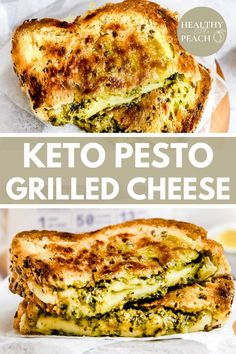 This Keto Pesto Grilled Cheese takes things up a notch with homemade pesto, dairy-free mozzarella cheese, keto bread, and ghee. This gourmet sandwich will hit the spot and make you feel fancy! Keto and Dairy Free #grilledcheese #ketogrilledcheese #ketorecipes #keto #dairyfree Best Gluten Free Recipes, Low Carb Recipes, Healthy Recipes, Healthy Eats, Delicious Recipes, Healthy Foods, Keto Pesto Recipe, Vegan Pesto, Keto Grilled Cheese
