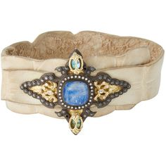 Armenta Armenta Women's Lapis & Moonstone Crocodile Wrap Bracelet ($1,595) ❤ liked on Polyvore featuring jewelry, bracelets, no color, blue bangles, blue jewelry, blue wrap bracelet, blue moonstone jewelry and 18 karat gold jewelry