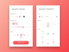 Smart home - Jacuzzi by Adrien Gonin Web Design, App Ui Design, User Interface Design, Mobile Application Design, Mobile Ui Design, Funny Apps, Dashboard Mobile, Smart Home Control, Android Design