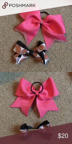 Cheer Football bows!!! Both never used, pink one is ADORABLE! Accessories Hair Accessories