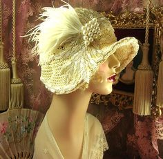 1920's Vintage Style Off White Beaded Pearl Feather Bridal Cloche Flapper Hat | eBay