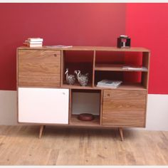 Retro Bookcase with Cupboards in Solid Wood | Loft Furniture