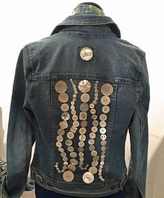 Upcycled jeans jacket with buttons, embellished by Norma Schlager | Notes from Norma