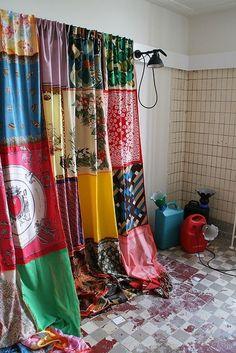 Vintage scarves shower curtain.