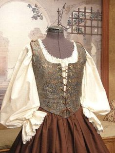 Renaissance MAIDEN WENCH DRESS Bodice Skirt Corset Costume. $150.00, via Etsy.