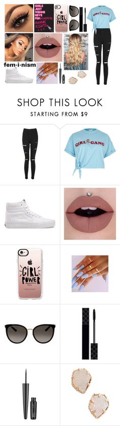"""""""feminism"""" by duhitsemma21 ❤ liked on Polyvore featuring Topshop, River Island, Vans, Casetify, Gucci, Maybelline, Kendra Scott, feminism, equality and girlgang"""