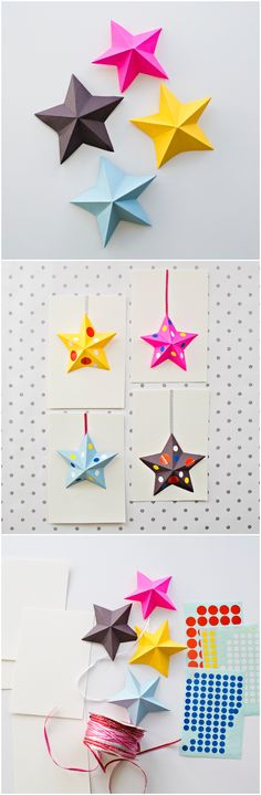 DIY Origami Paper Star Cards Kids Can Make. These cute paper cards are fun for kids to make for New Years, Christmas, Thank You Cards, or Birthdays.
