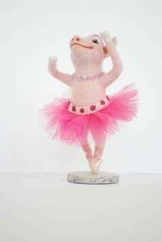 Needle Felted Toy  Pig muse Ballet  needle felted soft by katuasha, $65.00