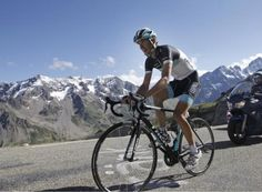 Andy Schleck with alps in the background
