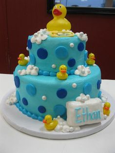 Rubber Ducky Baby Shower Cake Rubber Duck Cake, Rubber Ducky Party, Rubber Ducky Baby Shower, Baby Shower Duck, Baby Shower Brunch, Baby Shower Cakes, Baby Shower Themes, Baby Showers, Shower Ideas