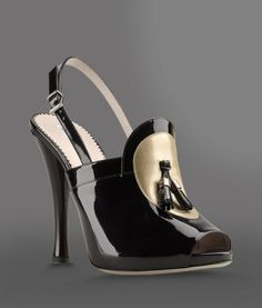 #Armani Open Toe Sandal with Patent Effect and Tassels #Shoes #Heels